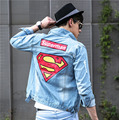 Men's Denim Jacket high quality fashion Jeans Jackets Slim fit casual superman printing Vintage Mens jean clothing streetwear