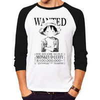 One Piece T Shirt Fashion Japanese Anime Clothing Luffy Cotton Raglan Long Sleeves T Shirt For
