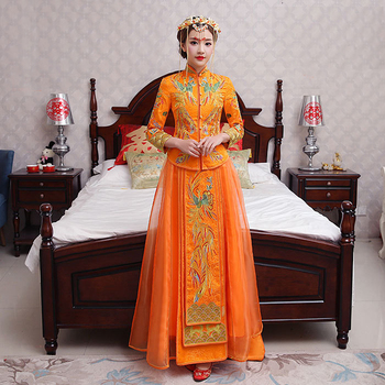 Oriental Asian Bride beauty Chinese traditional Wedding Dress Women Orange Floral Embroidery Long Cheongsam Robe Qipao Style
