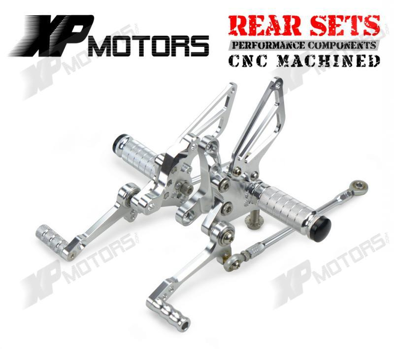 New CNC Adjustable Racing Rearset Footpeg Pedals Rear Sets For Ducati 1198 /S/R 2009 2010 2011 Silver