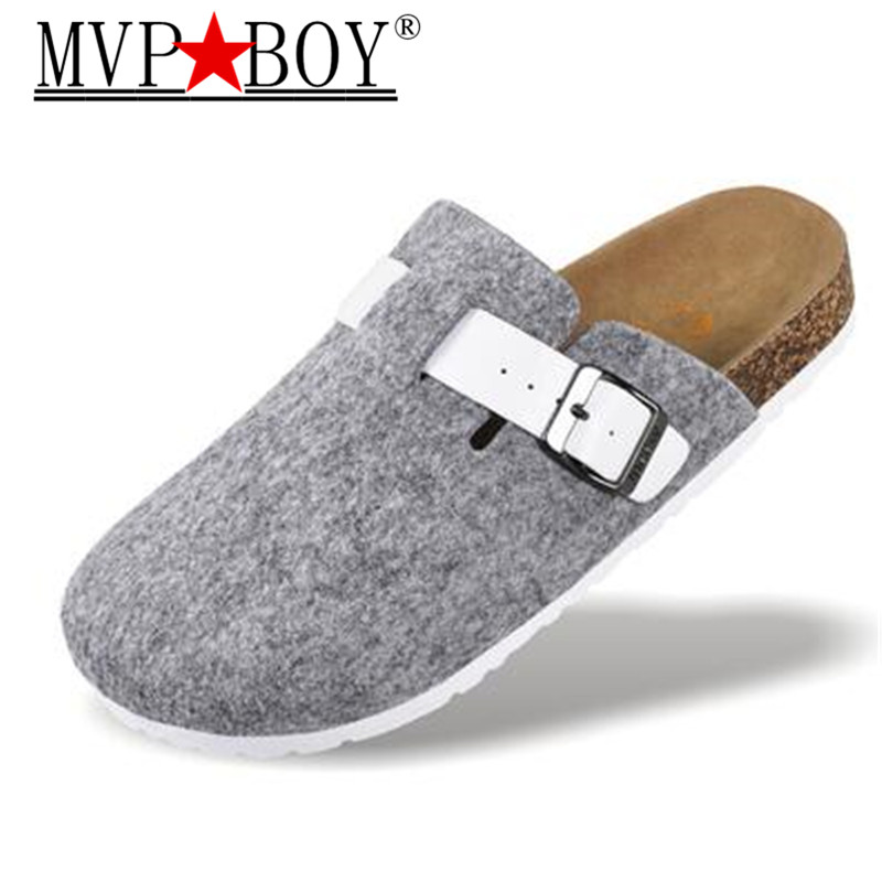 MVP BOY Plus size 36-44 New Men Shoes Cork Shoes Casual Sandals Flats Slides male Closed Toe Sandals Buckle Slippers Black Red women summer slippers 2018 new arrivals shoes outdoor open toe sides comfortable flats floor silver black red plus size 45 3 39
