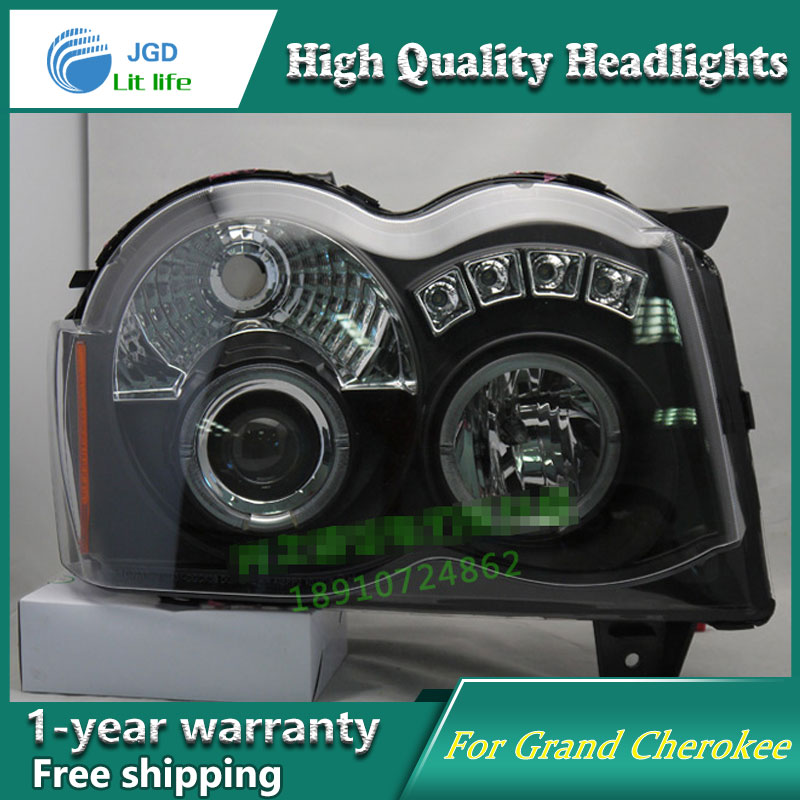 Car Styling Head Lamp case for Jeep Grand Cherokee 1999-2008 Headlights LED Headlight DRL Lens Double Beam Bi-Xenon HID hireno headlamp for 2016 hyundai elantra headlight assembly led drl angel lens double beam hid xenon 2pcs