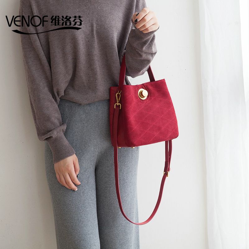 VENOF 2018 fall and winter bucket bag genuine leather women crossbody bag lady shoulder bag luxury handbags women bags designer timex часы timex tw4b00100 коллекция expedition