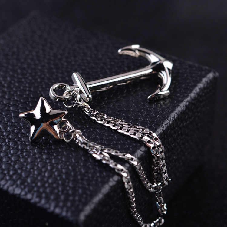 Inggris Bros Perhiasan Mewah Dress Suit Dasi Klip Jangkar Angkatan Laut Bros Rumbai Rantai Pin Kerah Kemeja Kerah Pin fashion
