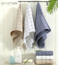LYN&GY Plaid Face Towel White Brown Gray 100% Cotton Terry Absorbent Washcloths Bathroom Towels Salon Home Use 34x75cm