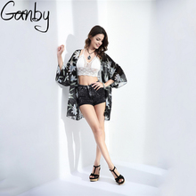 Ganby 2017 summer shirt style new tops women blouses printed shirts casual camisas femininas blusas vintage kimono cardigan