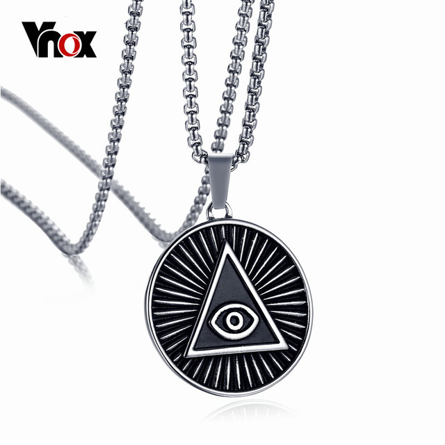 Alibaba aliexpress vnox vnox mens eye of providence pendant necklace vintage stainless steel black all seeing eye male mozeypictures Images