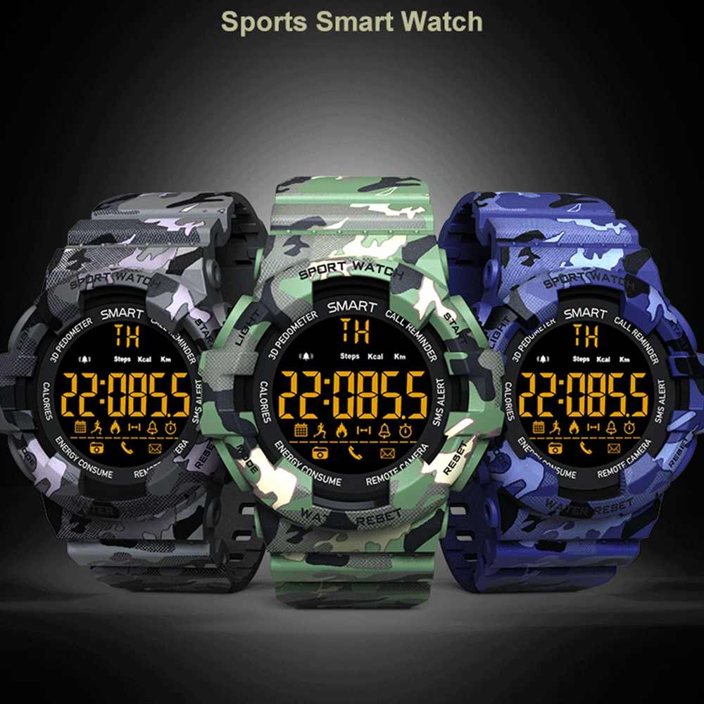Sport Smart Watch BM18 Fashion outdoor camouflage Bluetooth Smartwatch Fitness Motion tracking Alarm Clock Waterproof Wristwatch