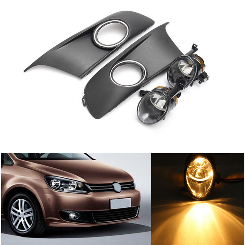 A Pair Front Fog Lights With Racing Grills & Wiring Harness Switch Fog Light Auto Accessories For VW TOURAN / CADDY 2010-2013 fog lights for toyota verso 2010 with covers wire harness switch