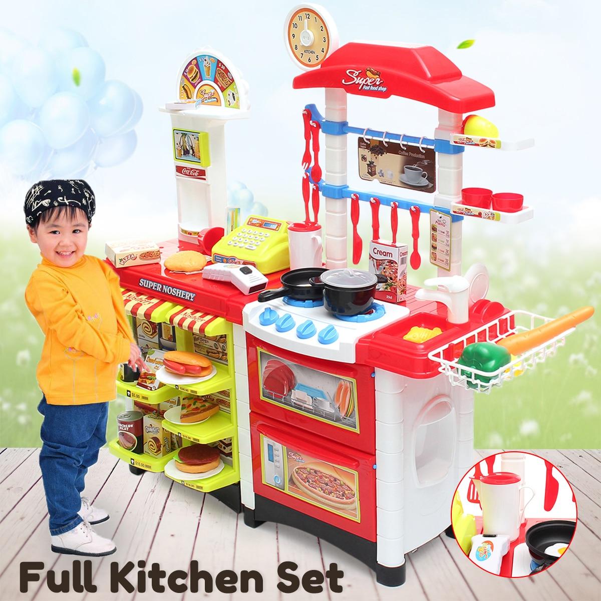 2 в 1 дети Кухня Притворись Ролевая игра набор супермаркет малышей Детская игрушка домой Еда моделирование Кухня счетчик игрушки