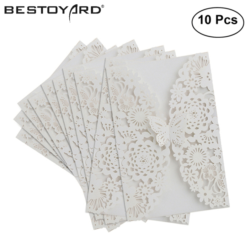 10pcs vertical laser cut butterfly invitations cards kits for wedding bridal shower birthday white