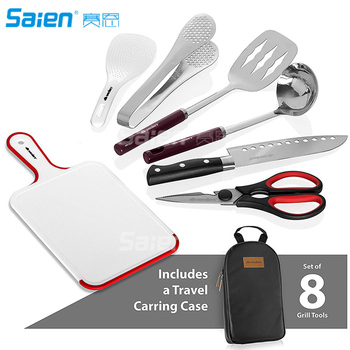 Camp Kitchen Utensil Organizer Travel Set - Portable 8 Piece BBQ Camping Cookware Utensils Travel Kit 2