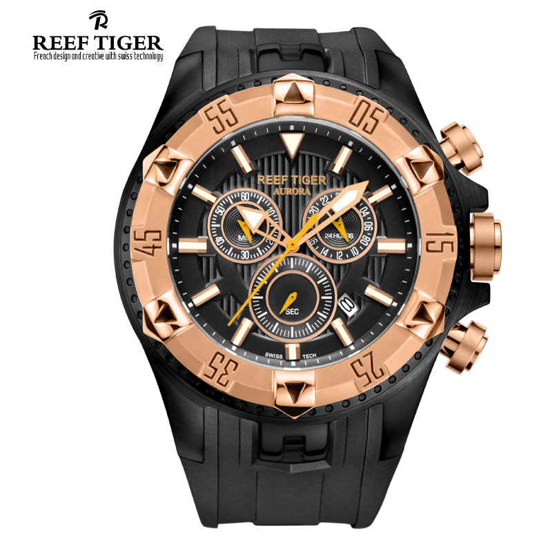 Prix pour Récif Tigre/RT Hommes De Luxe Suisse Montres de Sport Quartz Super Grand Montre Chronographe Super Lumineux Rose Or Stop Montre RGA303