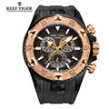 Reef Tiger/RT Men Luxury Swiss Sports Watches Quartz Super Big Watch Chronograph Super Luminous Rose Gold Stop Watch RGA303