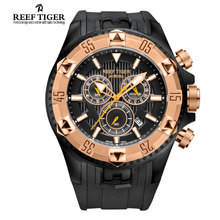 Reef Tiger/RT Hommes De Luxe Suisse Montres de Sport Quartz Super Grand Montre Chronographe Super Lumineux Rose Or Stop Montre RGA303
