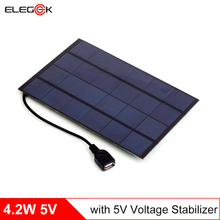 ELEGEEK 4.2W 5V USB Output Mini Solar Panel Charger with Regulator 660mA Polycrystalline Mini Solar Battery Charger for Phone