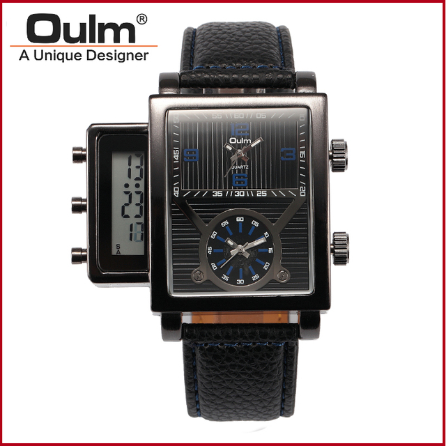 Oulm brand fashion popular teenage watches with led digital dial and dual PC21S movt men watch