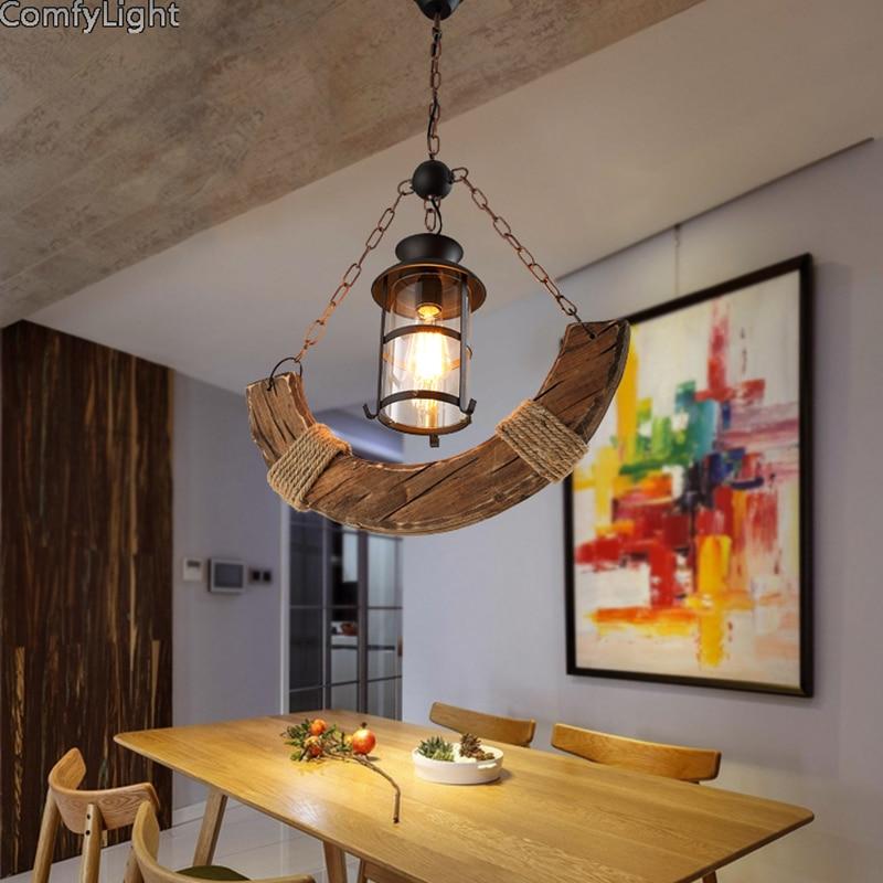 Işıklar ve Aydınlatma'ten Kolye ışıkları'de Loft Endüstriyel Kolye Işık Vintage Edison ahşap Asılı Lamba E27 Ev Dekor Restoran/bar/yemek odası Luminarias Kolye lambası title=