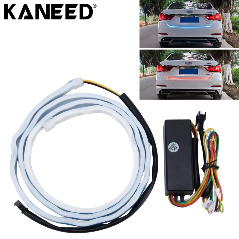 LED Car Brake Lights Car Auto Waterproof Universal Rear Ice Blue Tail Box Lights Brake Red Turn Signal Flowing LED Strip