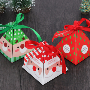 Image 2 - 10 PCS/Set Merry Christmas Candy Box Bag Christmas Tree Gift Box With Bells Paper Box Gift Bag Container Supplies Navidad