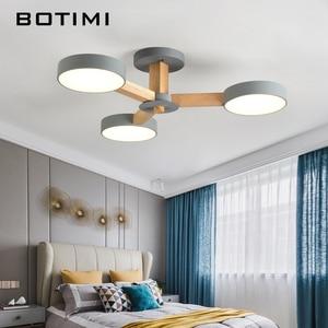 Image 4 - Потолочная люстра BOTIMI 220 В 110 В для гостиной, современный белый круглый блеск, деревянные светильники для спальни, потолочные светильники для помещений