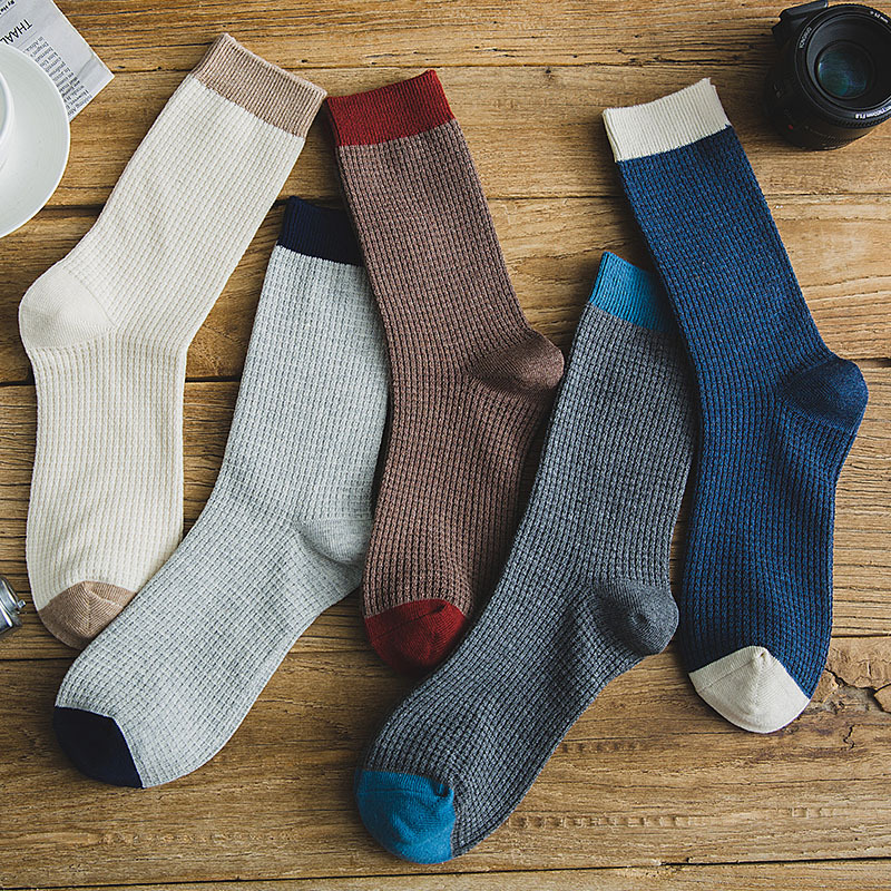 High Quality Men cotton Harajuku socks double stitches Compression Socks for Men 39 s Winter Warm Business Dress Sock Long 5Pairs in Men 39 s Socks from Underwear amp Sleepwears