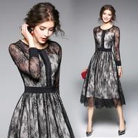 2018 wiosna nowa Europejska moda słowo koronkowa sukienka z długim rękawem czarny vintage kobiety sexy party o neck mesh plisowana odzież outfit