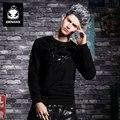 GENANX BrandBlack Sudadera Masculino Ingrediente Casua Estampado de Tendencia de Corea Del Hip-Hop de Los Hombres Camiseta Ocasional Tamaño M-XXL CW038