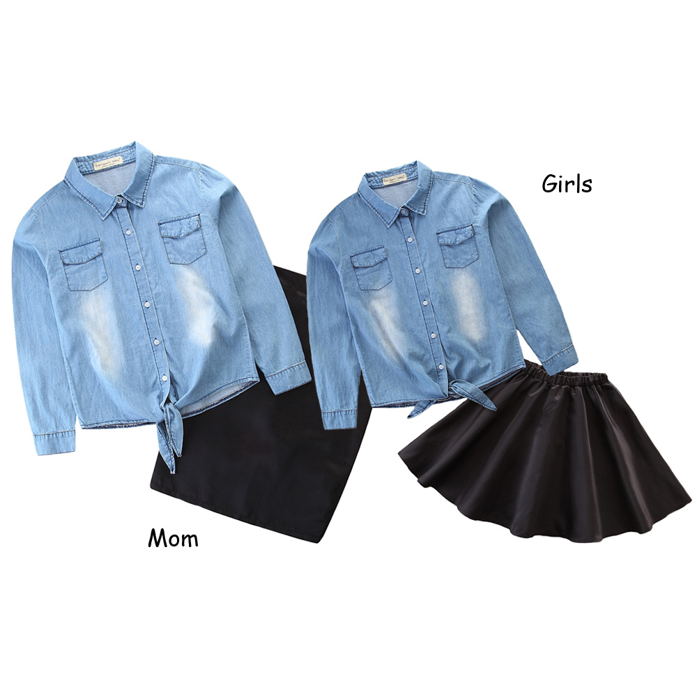 Toddler Girl Clothing Family Matching Mother Daughter Clothes Set Denim Blouse Coat+High Waist Bodycon Skirt Parent Child Outfit