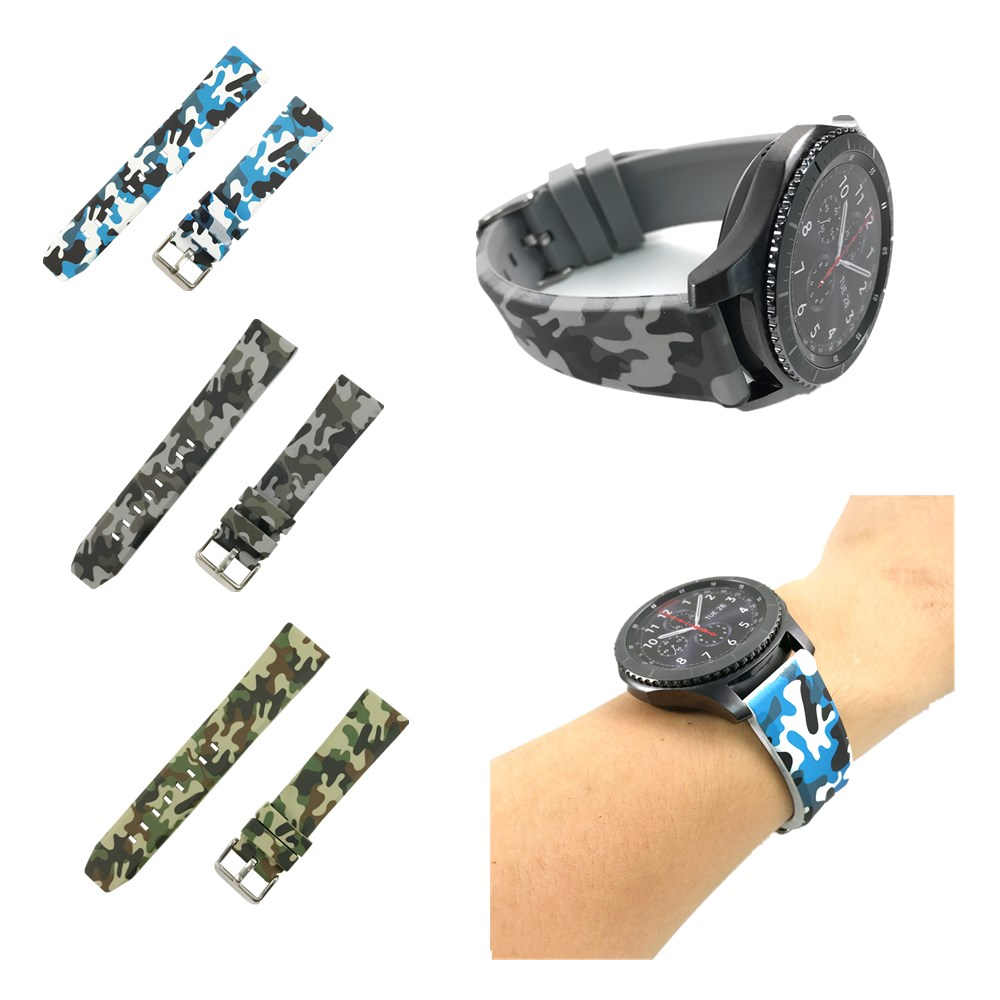 Colorful Silicone Sport Camouflage Style Strap Band For <font><b>Samsung</b></font> Gear <font><b>S3</b></font> Classic / <font><b>Frontier</b></font> <font><b>Smartwatch</b></font> Band Breathable Bracelet image