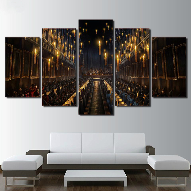 Modern Wall Art Print 5 Pieces Home Decor For Living Room Harry Potter Scene Canvas Painting Movie Poster Decoration