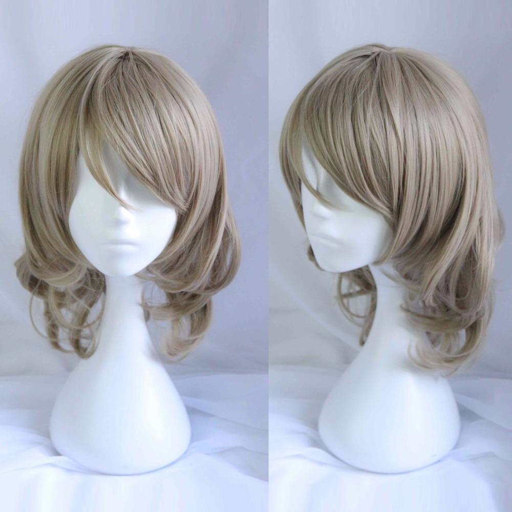 "16"" Medium Wavy Flaxen Gray Party Anime Hair Cosplay Full Wig Heat Resistant+cap"