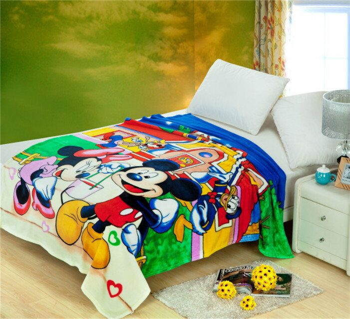 Mickey Minnie Mouse Printed Blankets Throws Bedding 150*200CM Size Baby Boys Children's Kids Bed Home Bedroom Decoration Flannel