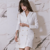 Small white suit long jacket 2018 spring new Korean temperament polo neck long sleeved double breasted suit ladies pleated dress