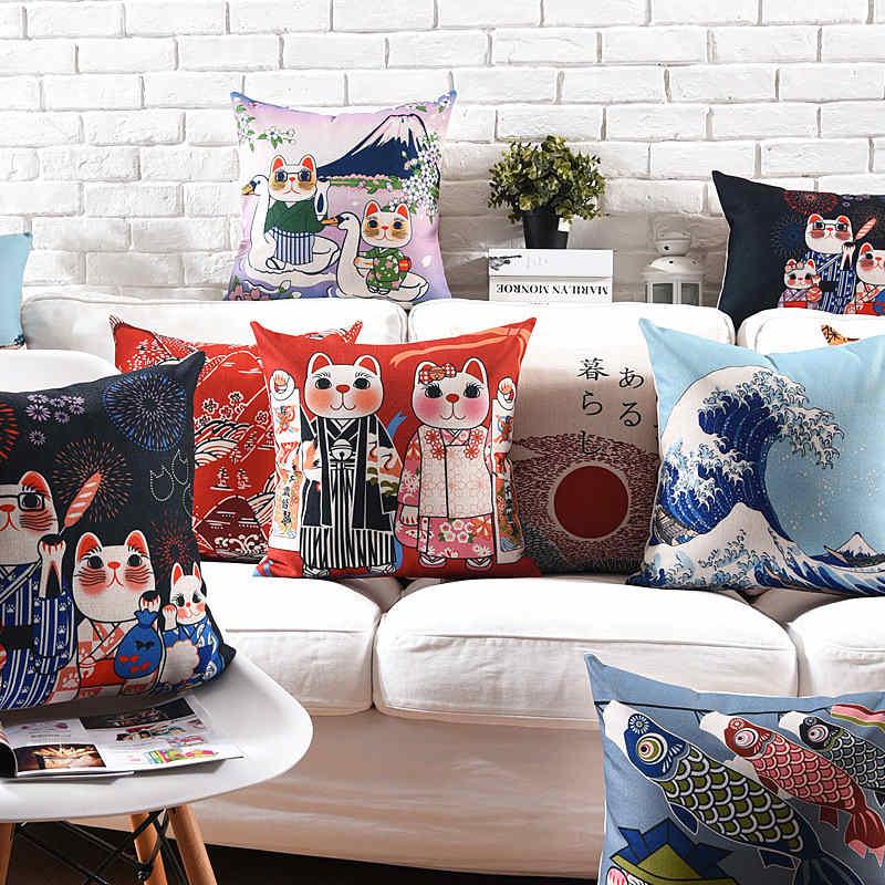 Home Decor Japanese-style Ukiyo-e Pillow Cushion Cover Pillowcase Pillow Covers