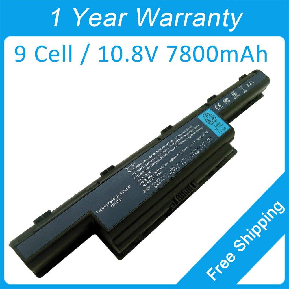 Nuevo 7800 mah batería del ordenador portátil para acer TravelMate 4740ZG 4750GZ 5735ZG 5742ZG 8472 HF 5740ZG 8572 T HF AS10D75 AS10D31 AS10D71