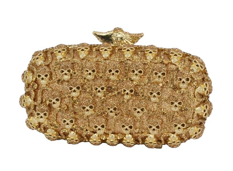Gold Skull women Luxury Crystal Evening Bag Gray Shinning Banquet Bag Diamond Prom Party Purse Rhinestone Clutch Bag 88154 lovely orange luxury sparkly crystal stones evening bag unique diamond banquet party prom handbag women wedding clutch bag 88272