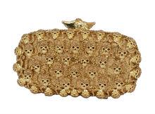 Gold Schädel frauen Luxus Kristall Abendtasche Grau Shinning Bankett Tasche Diamant Prom Party Geldbörse Strass Handtasche 88154
