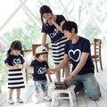 2016 verão mãe & kids roupas da família roupas combinando vestidos de mãe e filha pai e filho camisa olhar família roupas de algodão