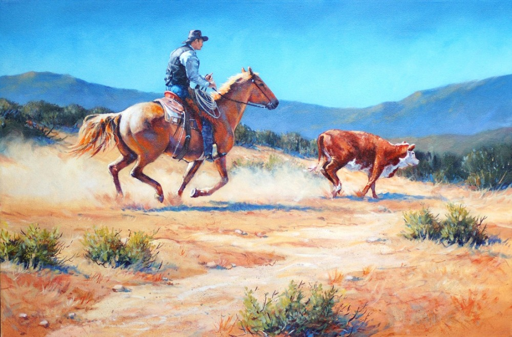 Us 67 0 Good Art Western Cowboy Horse Riding Cow Western Art 100 Hand Painted Oil Painting On Canvas 36 Inch Free Shipping In Painting