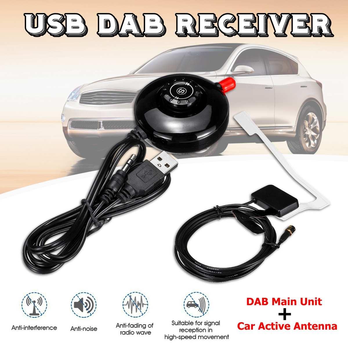 Antenne de voiture coche antenne récepteur stéréo et récepteur Radio numérique Portable Dab de voiture avec panneau de LED d'antenne Active d'utilisation de voiture