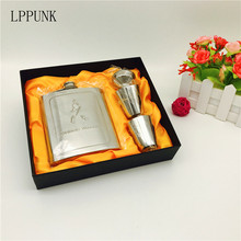 New arrival bpa free 7oz whisky Imprint flagon cccp Stainless steel alcohol hip flask SET with gift box