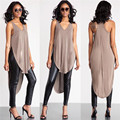 New Arrival Women Ladies Sexy Asymmetrical Cut Out High Low Tank Tops Summer Casual Loose Beach Bandage Vest Tee Shirts