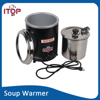 Electric Soup Ketter Wet Heat Food Warmer Commercial Black Stainless Steel Pot