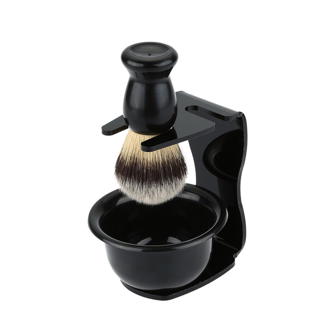 3 In 1 Shaving Soap Bowl +Shaving Brush+ Shaving Stand Bristle Hair Shaving Brush Men Beard Cleaning Tool Gift
