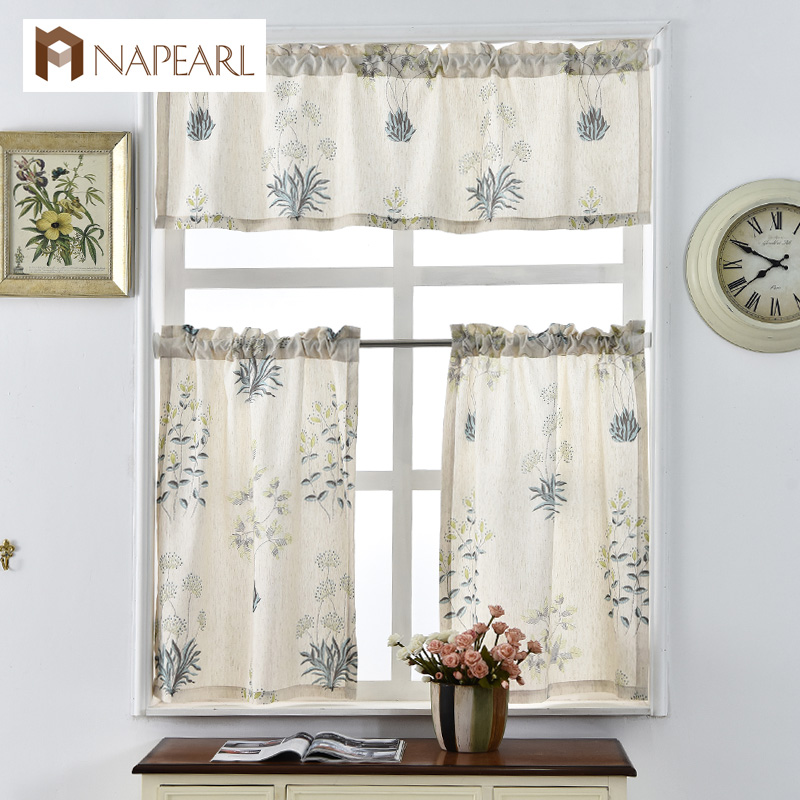 NAPEARL Printed Short Curtains For Kitchen Linen Fabrics Window Treatments Modern Door Rod Pocket Ready Made Kitchen Curtains