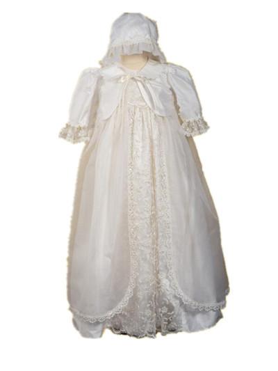 2016 alta calidad para bautismo vestido vestido de bautizo del bebé del Applique del cordón 0-24 meses con la chaqueta capó