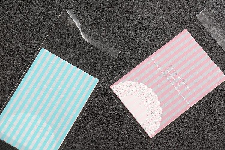 500 шт. решетки Кружево печатных целлофан Cookie Сумки упаковки печенья Сумки Пластик мешок opp с самоклеящаяся розовый 7x10 см