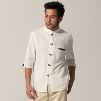 New Arrival White Chinese Traditional Men Cotton Shirt Kung Fu Shirt Half Sleeve Casual Shirt Top