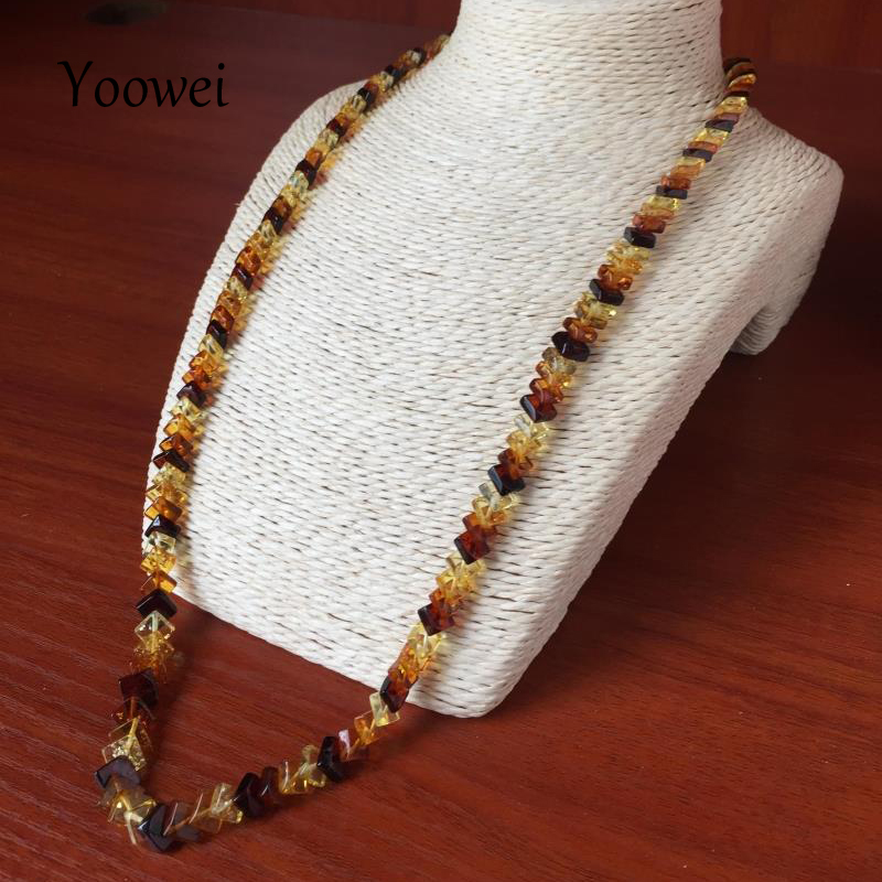 Yoowei Wholesale Baltic Amber Necklace Genuine Multicolor Square Flat Natural Honey Cognac Faceted Amber Beads Necklace Jewelry baltic amber teething necklace for baby cognac handmade in lithuania lab tested authentic 3 sizes